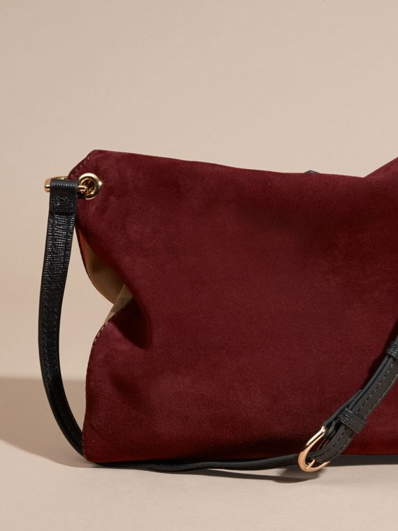 Mahogany red English Suede and House Check Shoulder Bag - cell image 3