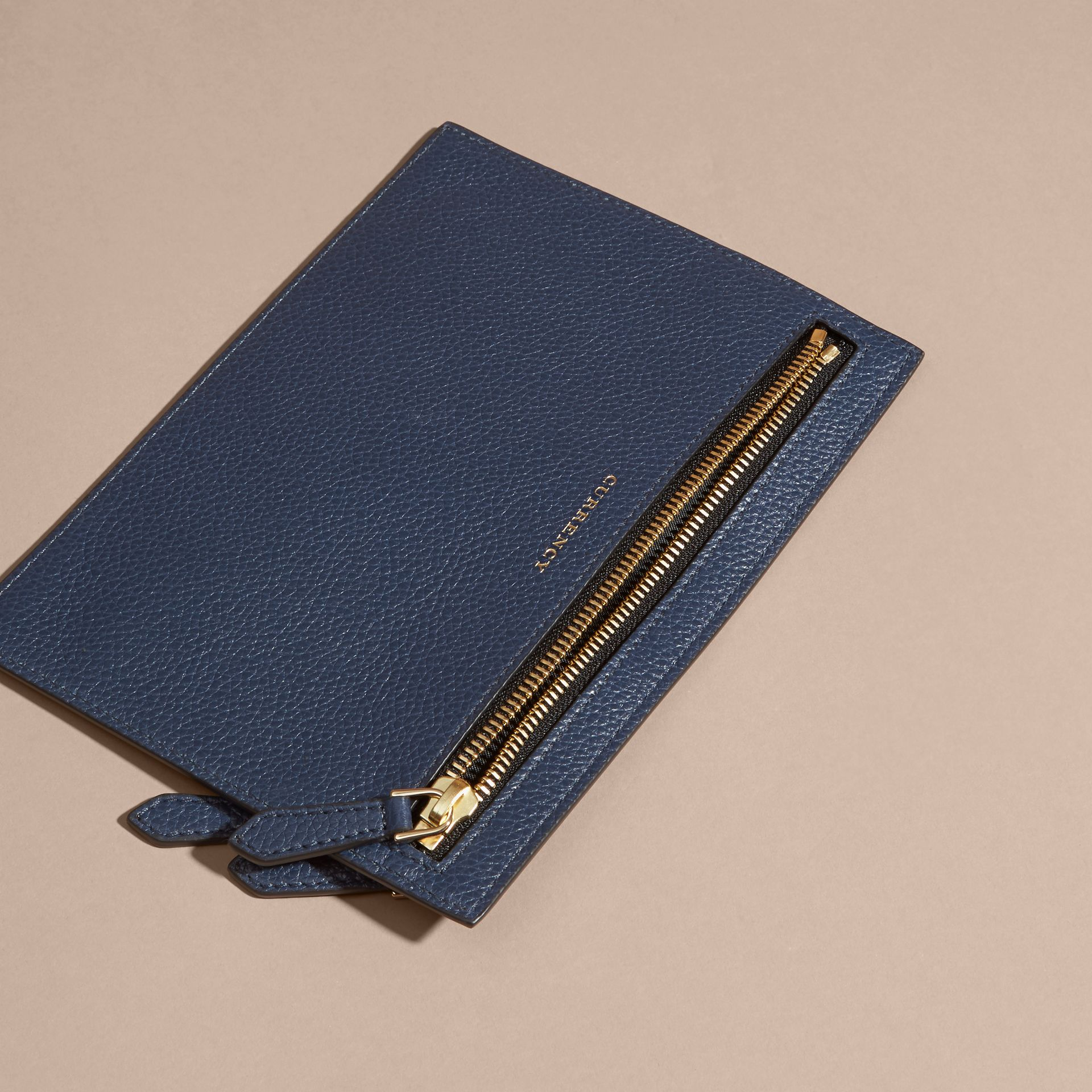 Grainy Leather Currency Wallet in Bright Navy | Burberry - gallery image 4
