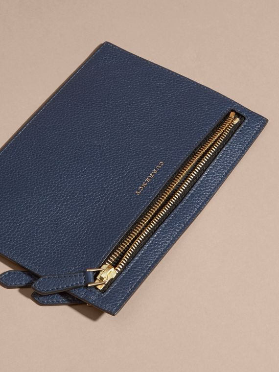 Grainy Leather Currency Wallet in Bright Navy | Burberry - cell image 3