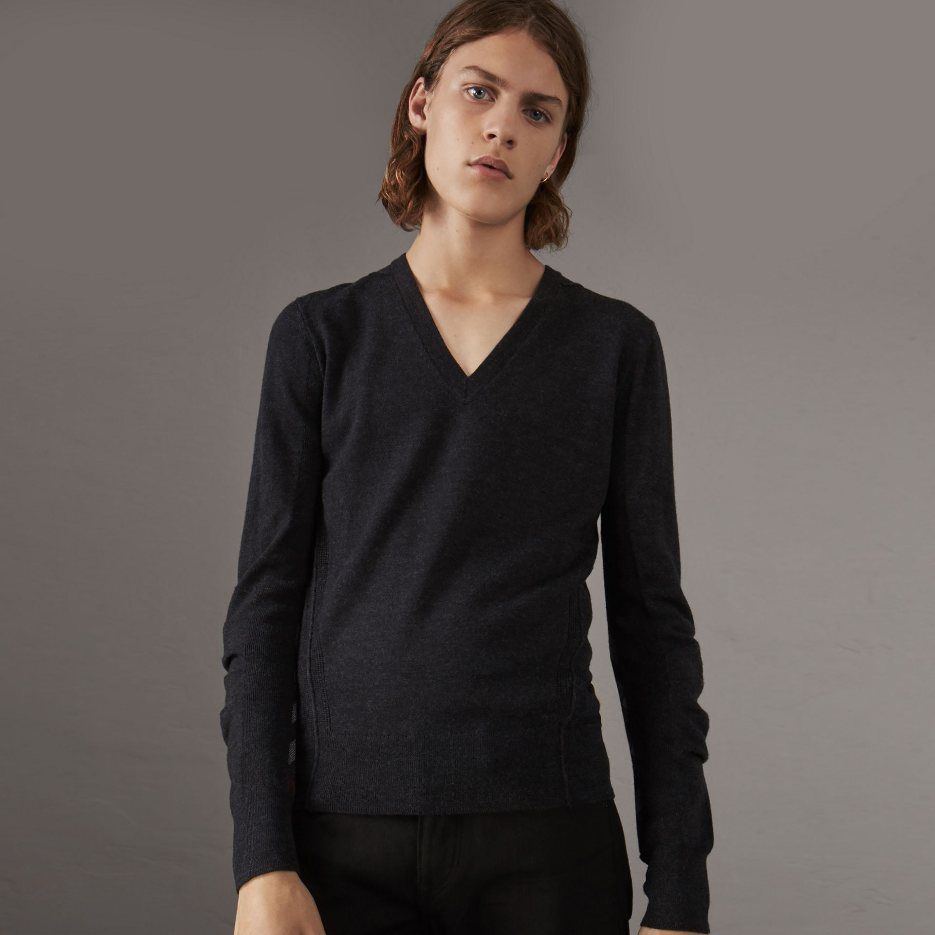 Check Detail Merino Wool V-neck Sweater in Charcoal - Men | Burberry Singapore - gallery image 0