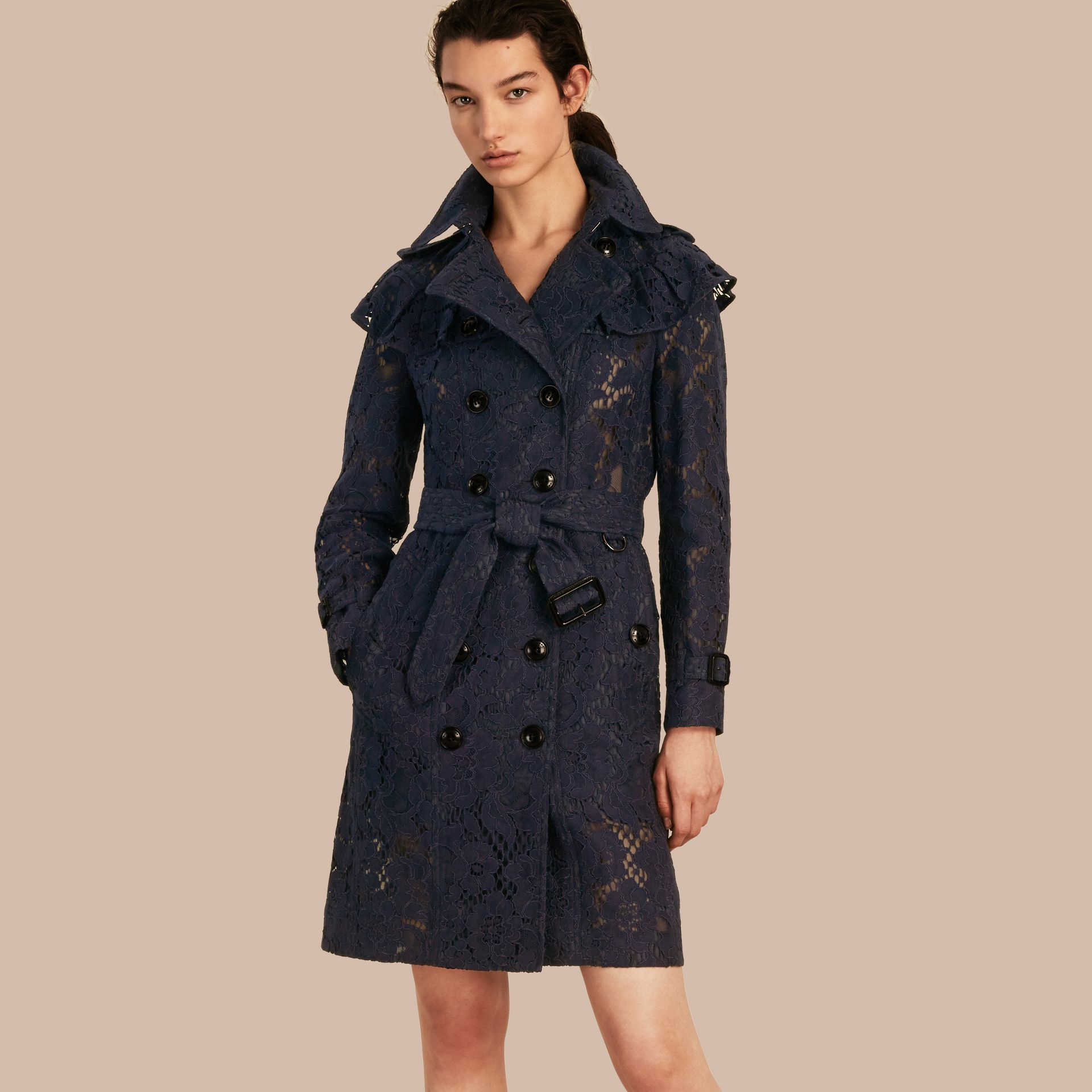 Ruffle Detail Macramé Lace Trench Coat Navy - gallery image 1