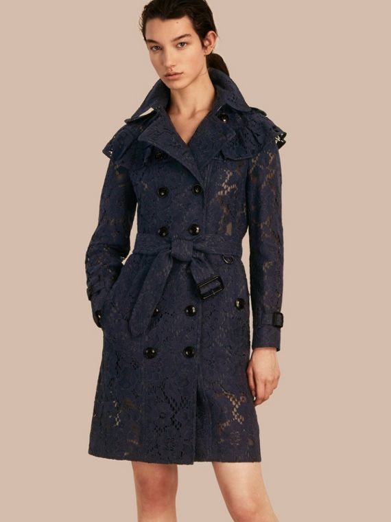 Ruffle Detail Macramé Lace Trench Coat Navy