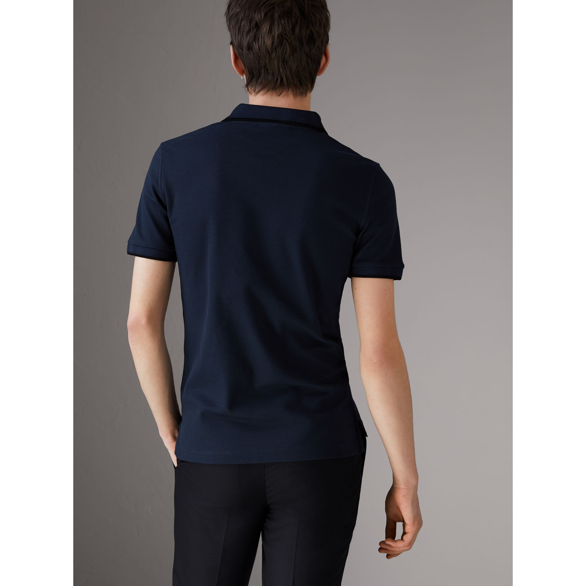 Cotton Piqué Polo Shirt in Navy - Men | Burberry - gallery image 2