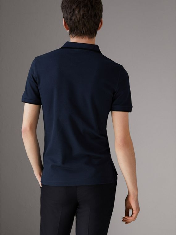 Cotton Piqué Polo Shirt in Navy - Men | Burberry - cell image 2