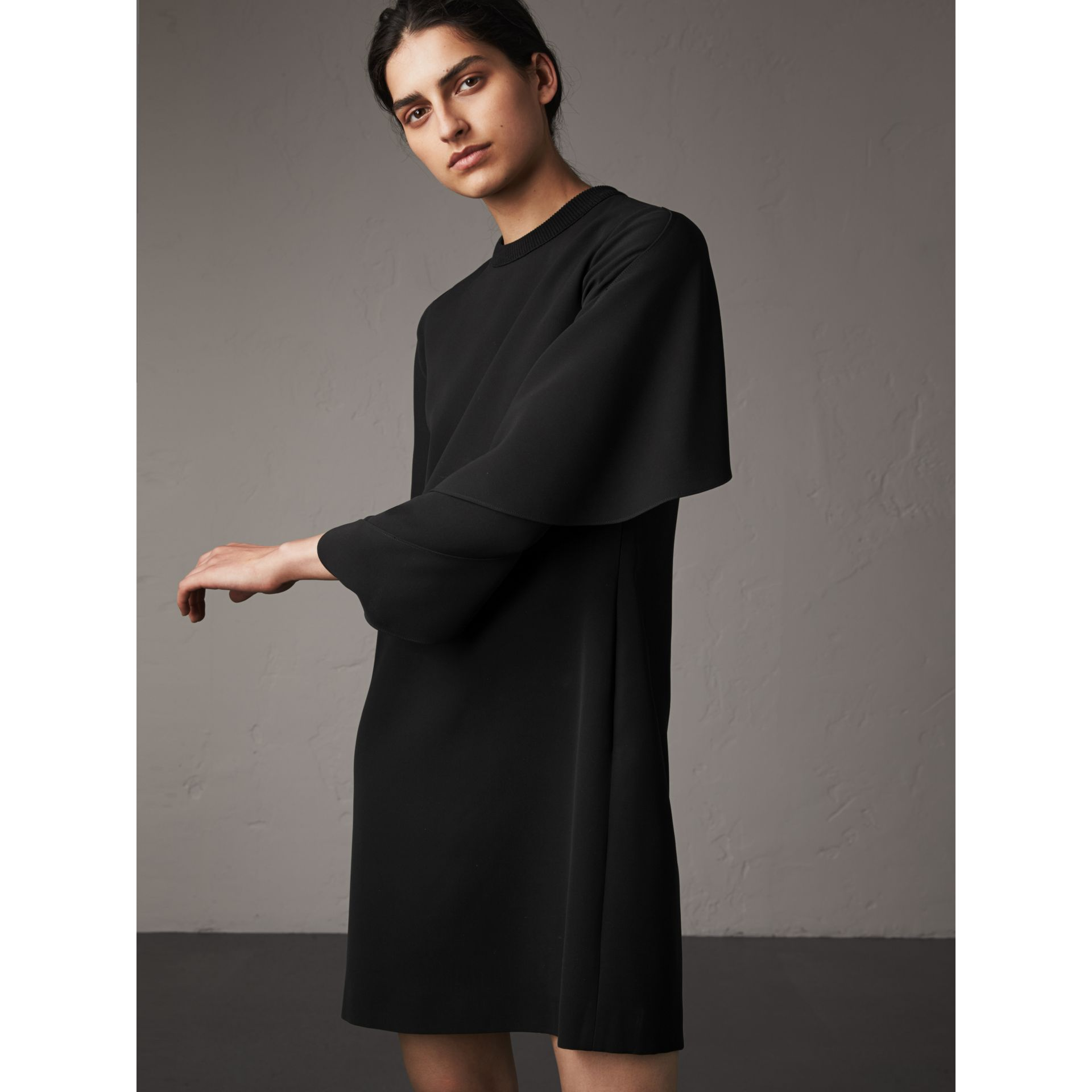 Curved Panel Silk Shift Dress in Black - Women | Burberry - gallery image 5