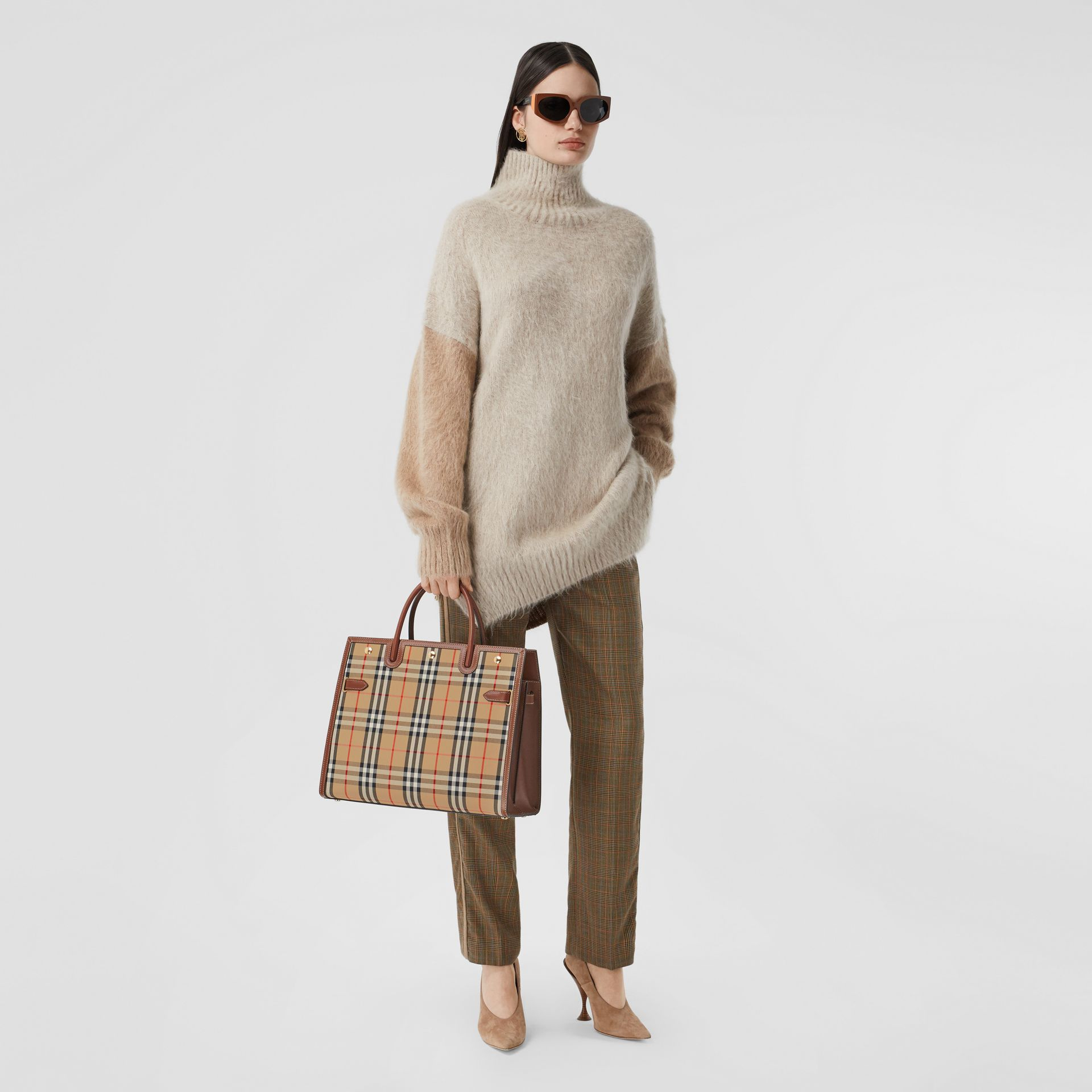 Medium Vintage Check Two-handle Title Bag in Archive Beige - Women | Burberry Canada - gallery image 5