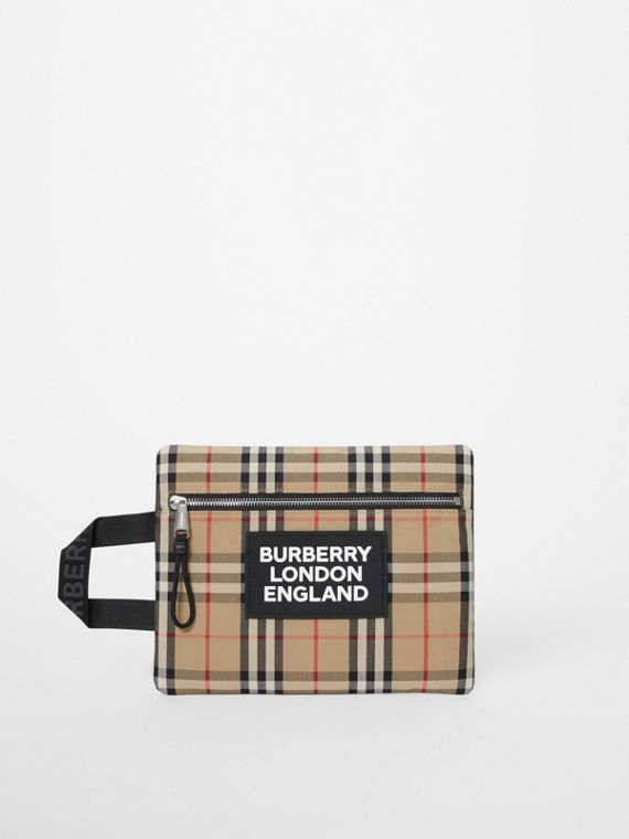 Logo Detail Vintage Check Portrait Pouch in Archive Beige