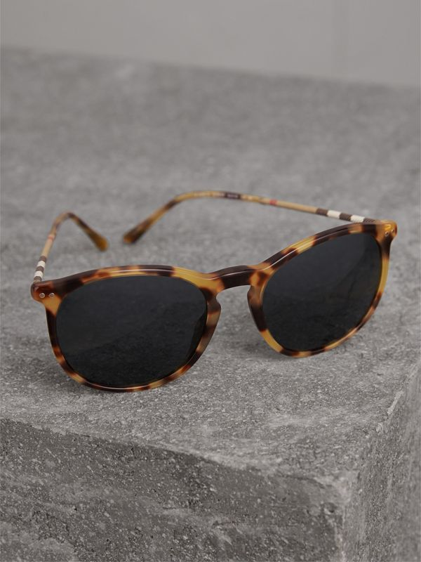 Check Detail Round Frame Sunglasses in Dark Brown - Men | Burberry Singapore - cell image 2