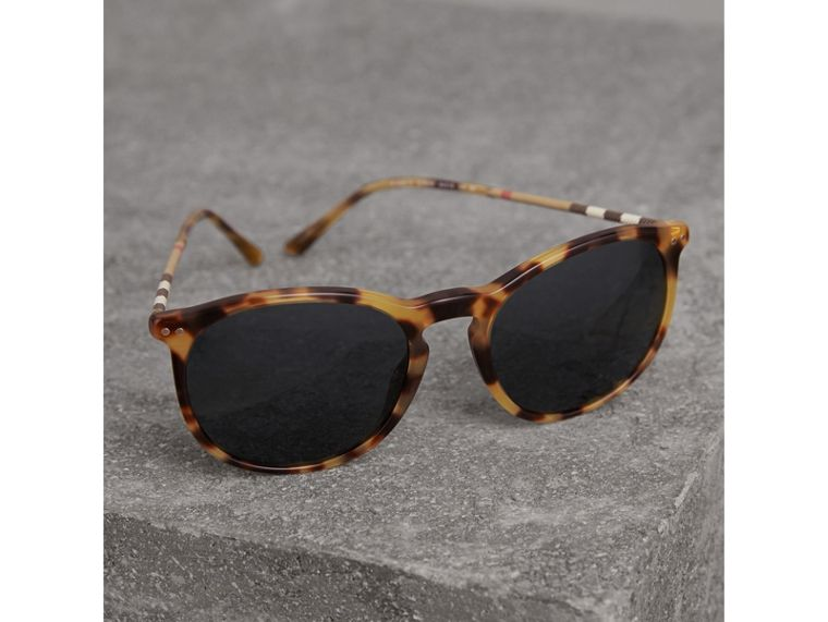 Check Detail Round Frame Sunglasses in Dark Brown - Men | Burberry - cell image 2
