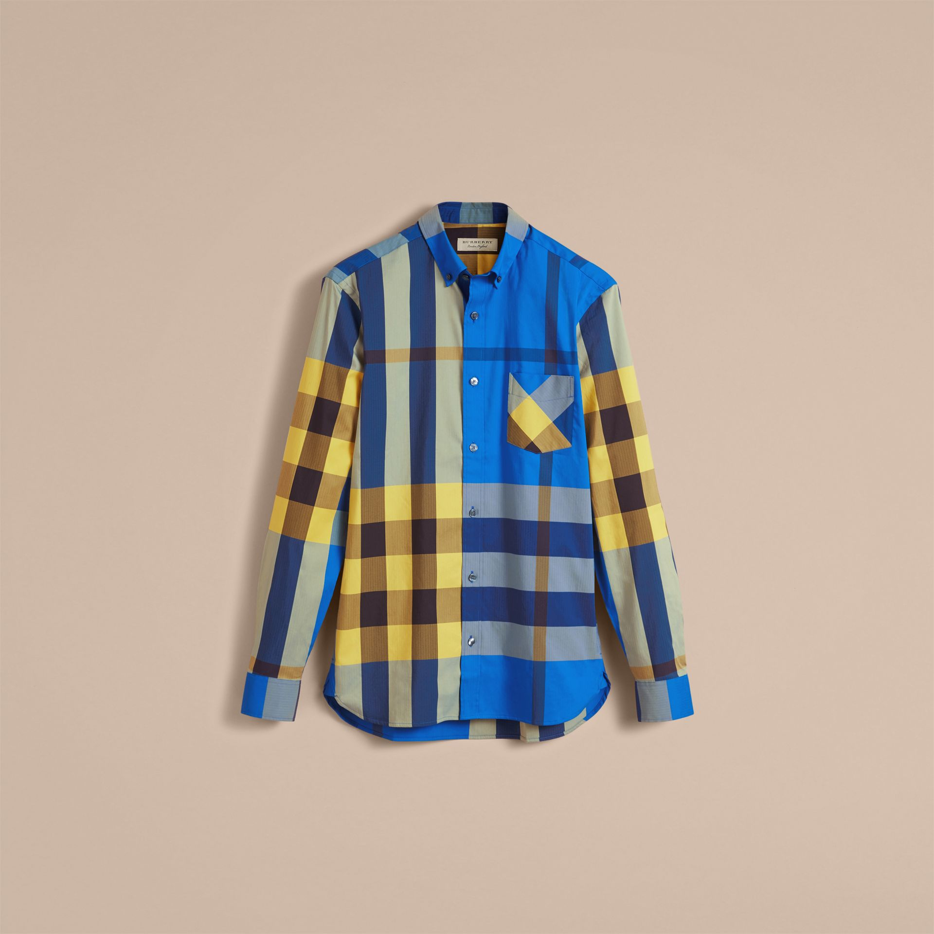 Button-down Collar Check Stretch Cotton Blend Shirt in Bright Canvas Blue - Men | Burberry - gallery image 4