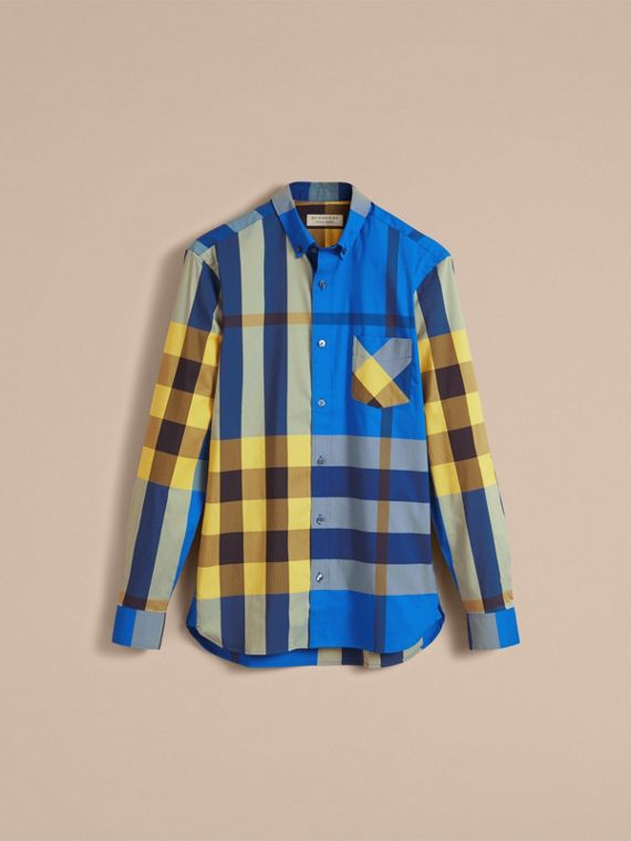 Button-down Collar Check Stretch Cotton Blend Shirt in Bright Canvas Blue - Men | Burberry - cell image 3