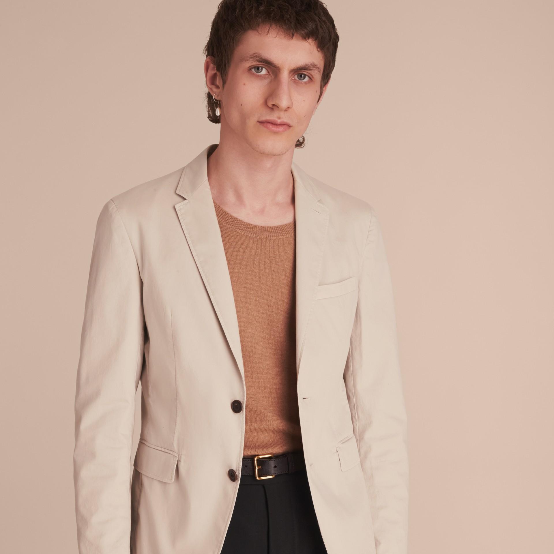 Slim Fit Stretch-cotton Blazer Sand - gallery image 5