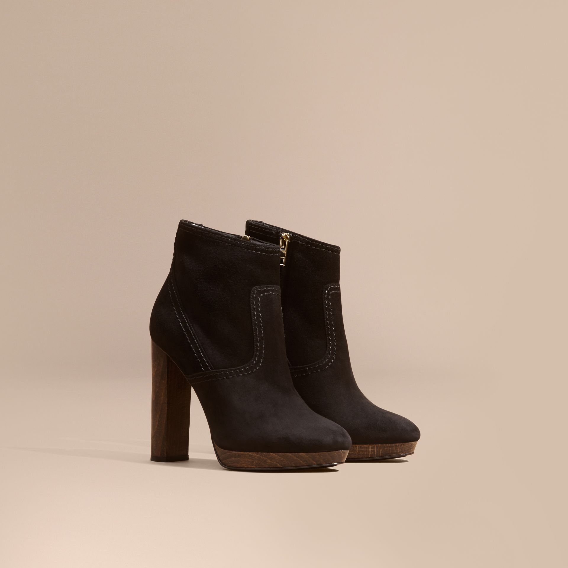 Black Suede Ankle Boots Black - gallery image 1