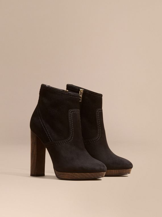 Bottines en cuir velours Noir