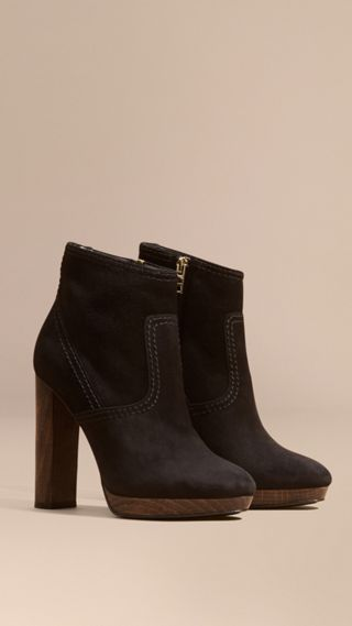 Bottines en cuir velours