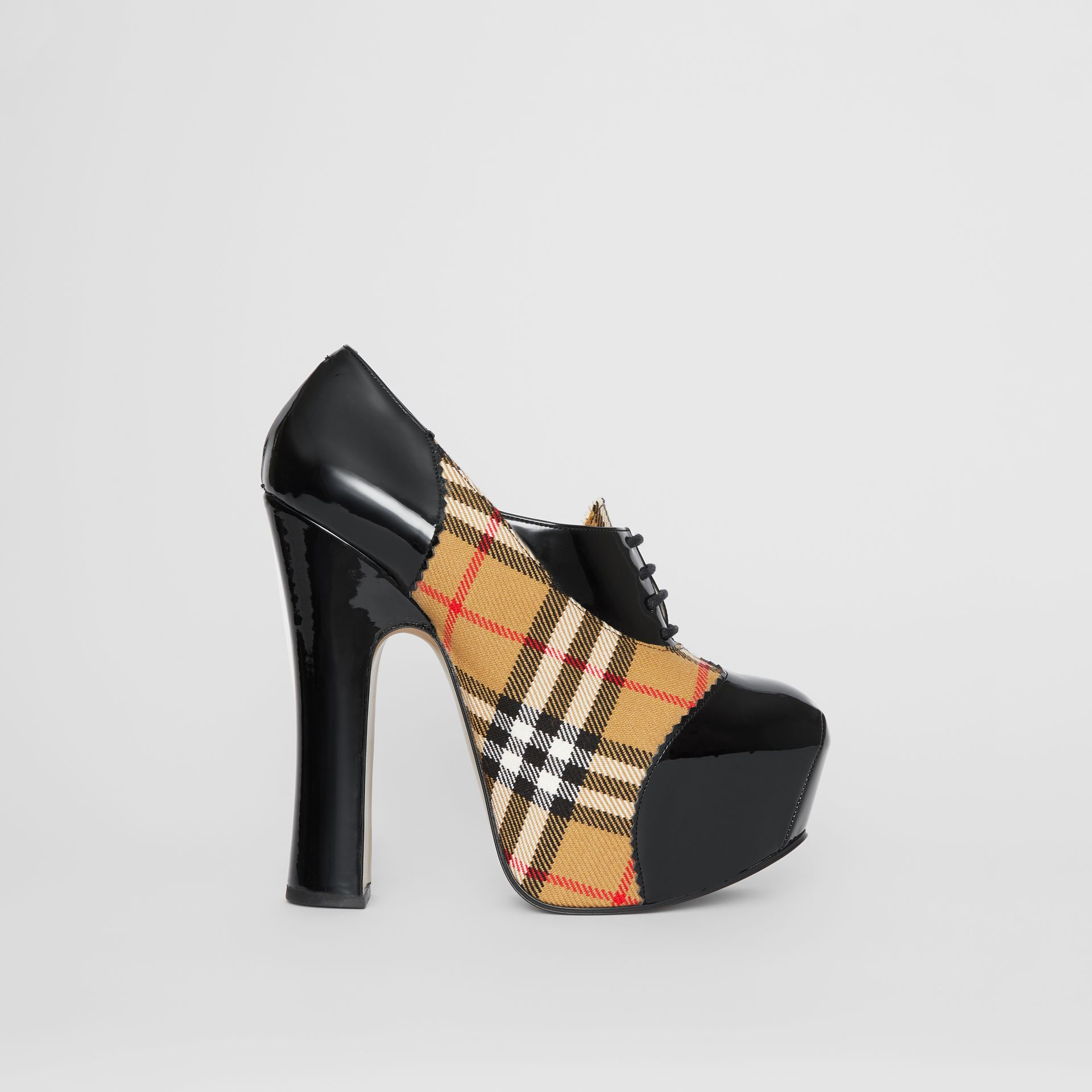 Vintage Check and Patent Lace-up Platforms in Black | Burberry - gallery image 5