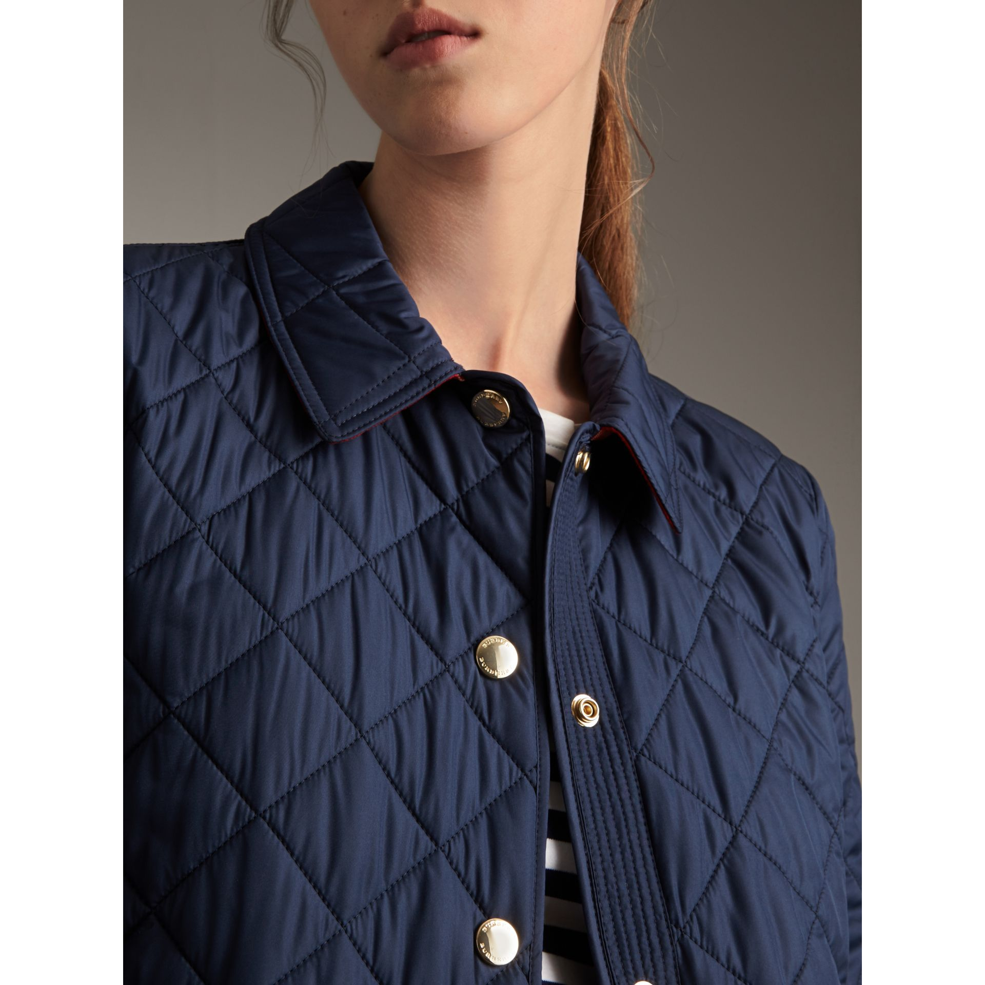 Check Detail Diamond Quilted Jacket in Navy - Women | Burberry - gallery image 5