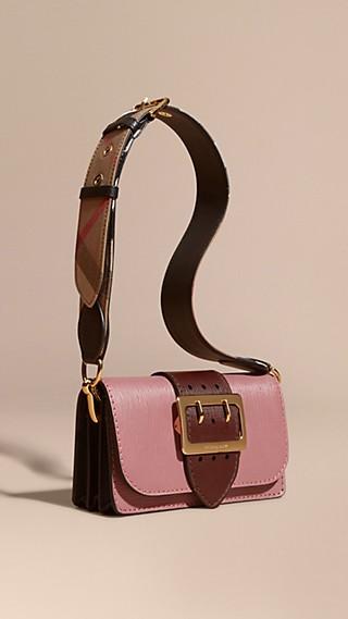 The Buckle Bag in Grainy Leather Dusky Pink/ Burgundy