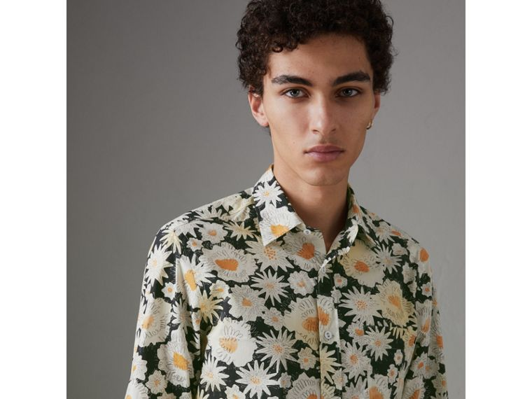 Daisy Print Cotton Shirt in Black - Men | Burberry Singapore - cell image 4
