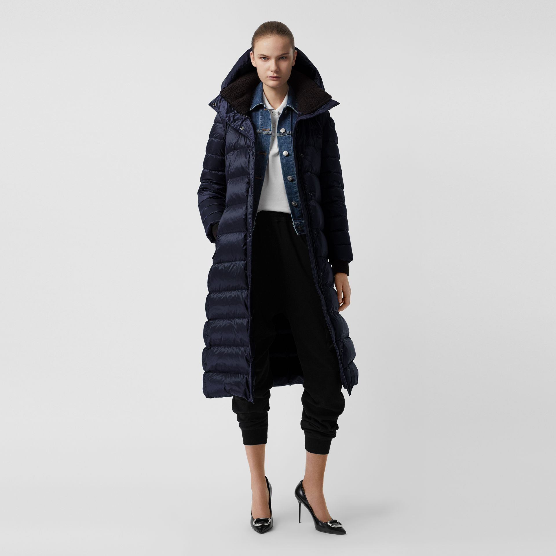 Down-filled Hooded Puffer Coat in Navy - Women | Burberry - gallery image 0