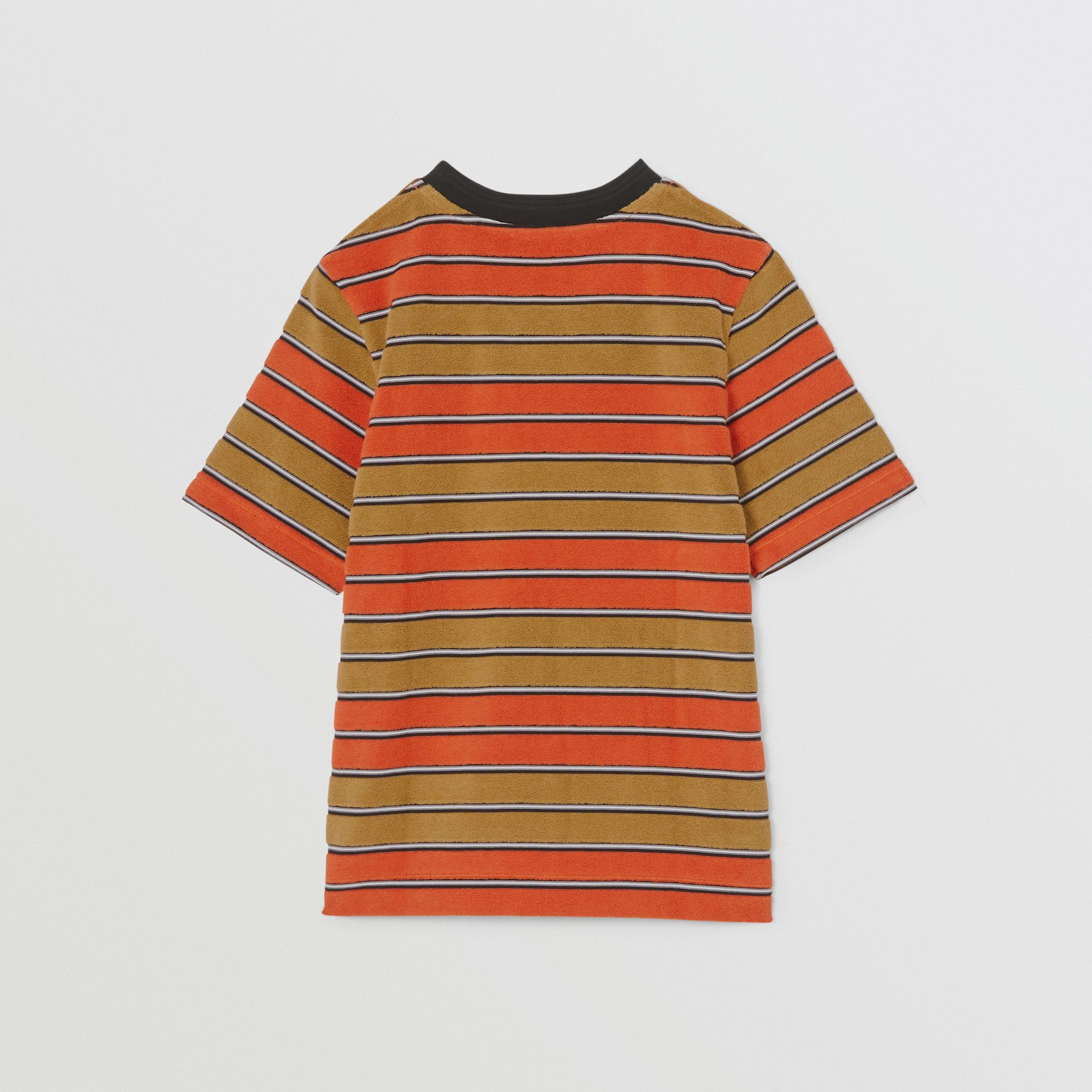 Logo Appliqué Striped Towelling T-shirt in Vermilion Red - Children | Burberry - 4