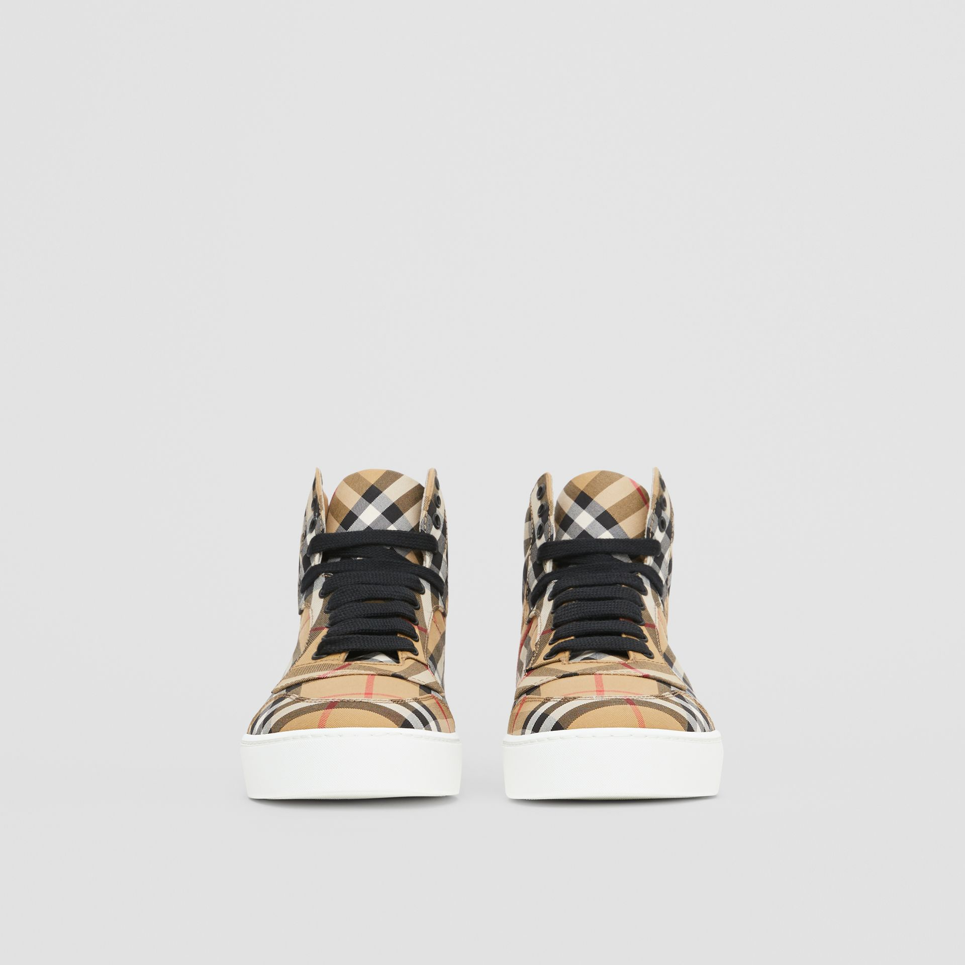 Vintage Check Cotton High-top Sneakers in Antique Yellow - Women | Burberry - gallery image 3