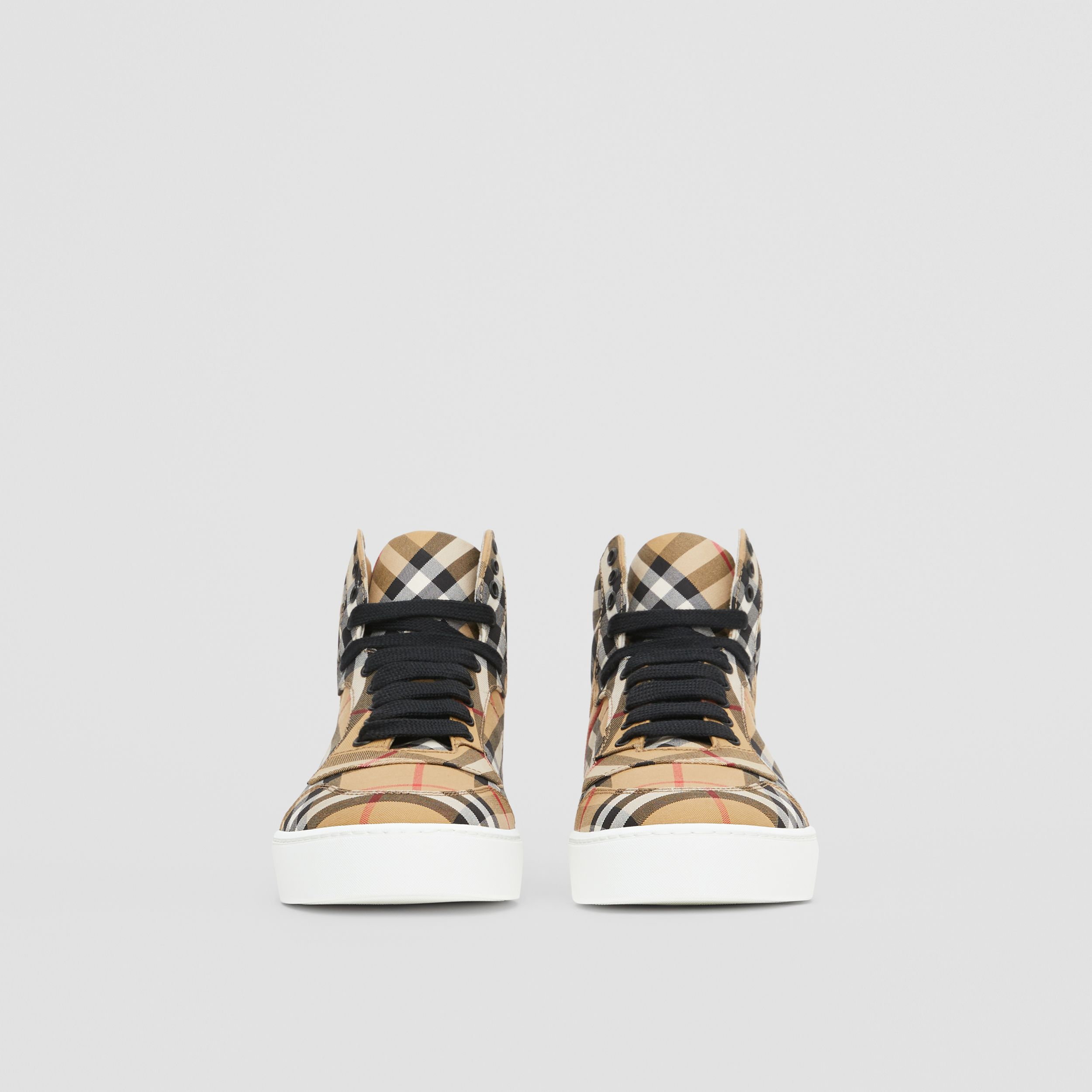 Vintage Check Cotton High-top Sneakers in Antique Yellow - Women | Burberry United Kingdom - 4