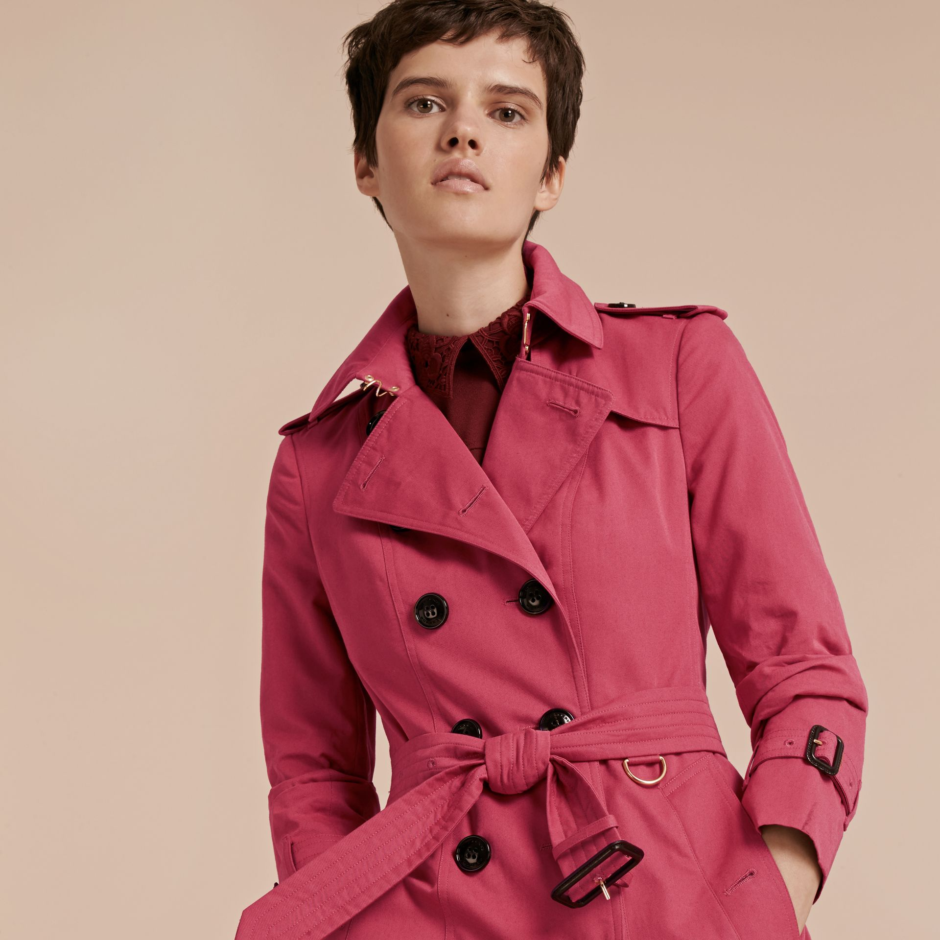 Bright copper pink Cotton Gabardine Trench Coat - gallery image 6