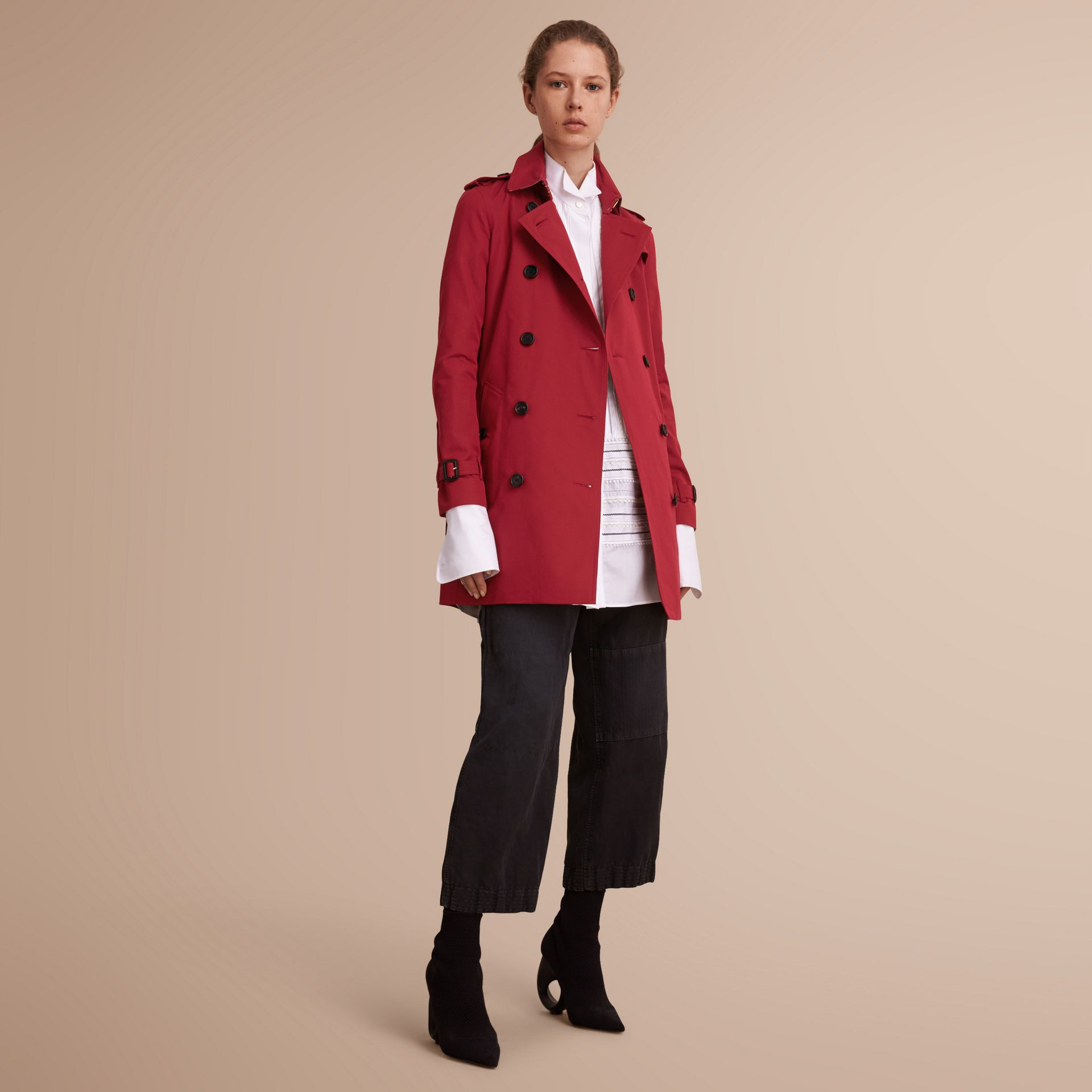 The Kensington – Mid-Length Heritage Trench Coat in Parade Red - gallery image 7