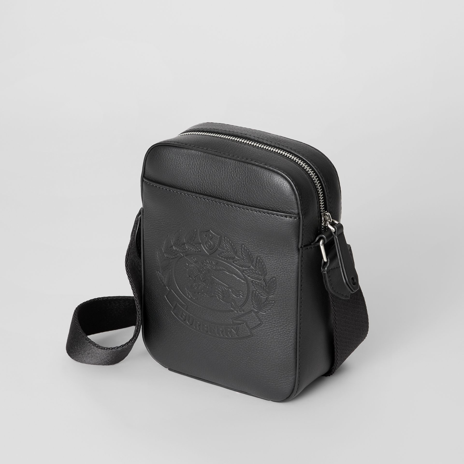 Small Embossed Crest Leather Crossbody Bag in Black - Men | Burberry United States - gallery image 4