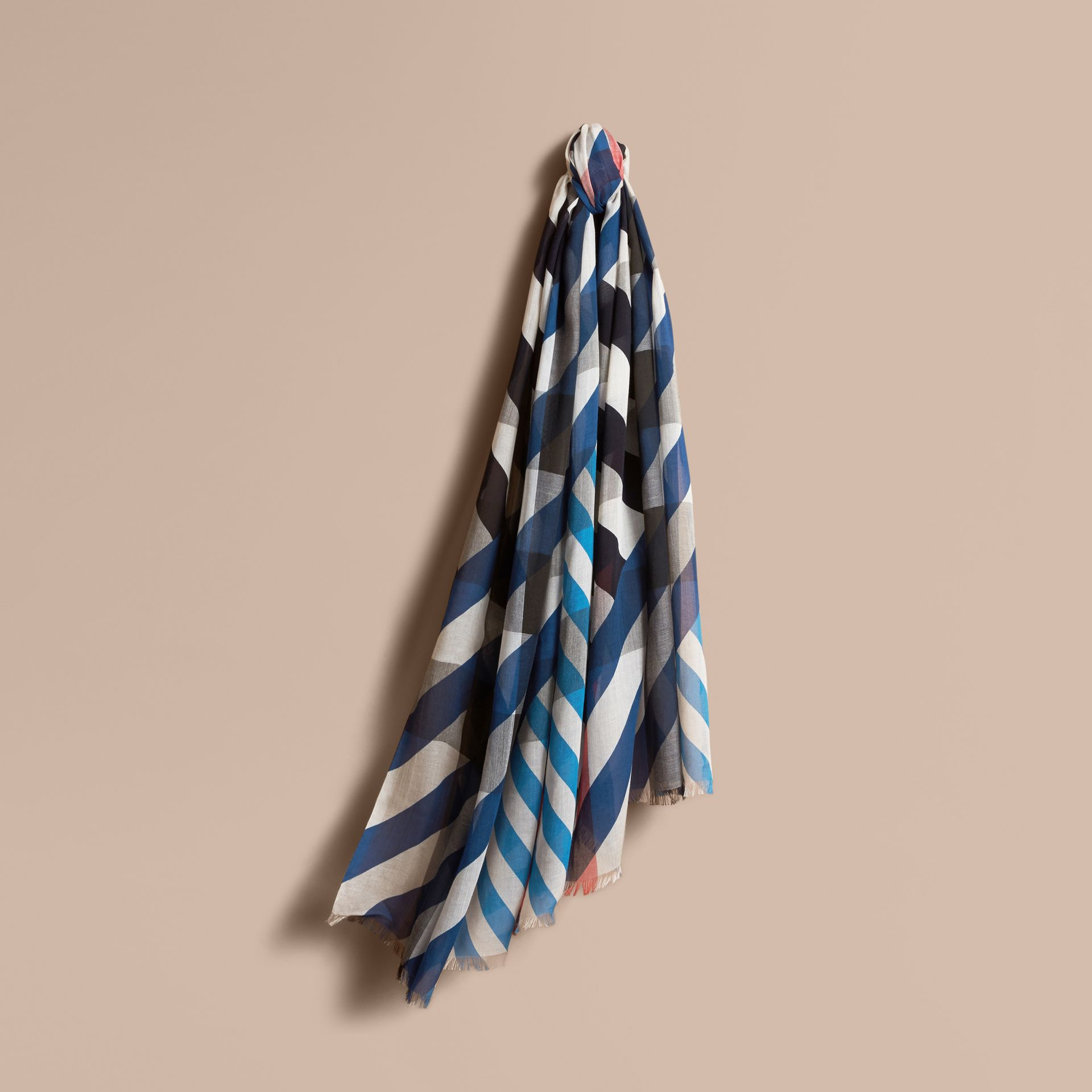 Check and Stripe Modal Cashmere Silk Scarf Indigo/stone - gallery image 1