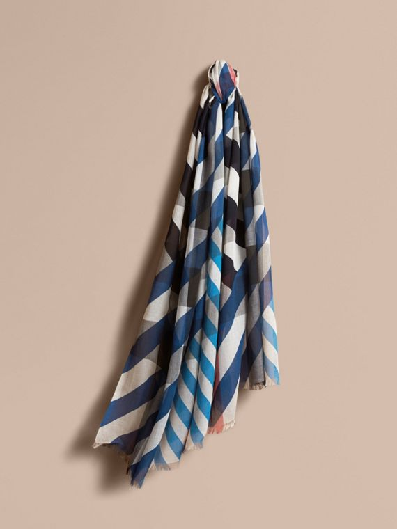 Check and Stripe Modal Cashmere Silk Scarf in Indigo/stone