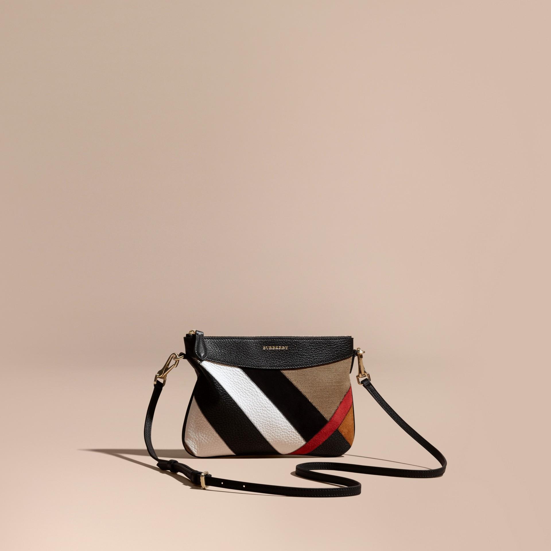 Noir Clutch façon patchwork en cuir, cuir velours et jute de coton à motif check - photo de la galerie 1