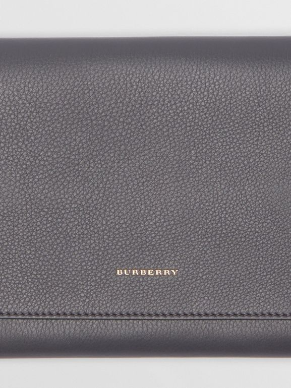 Two-tone Leather Wristlet Clutch in Charcoal Grey - Women | Burberry Hong Kong - cell image 1