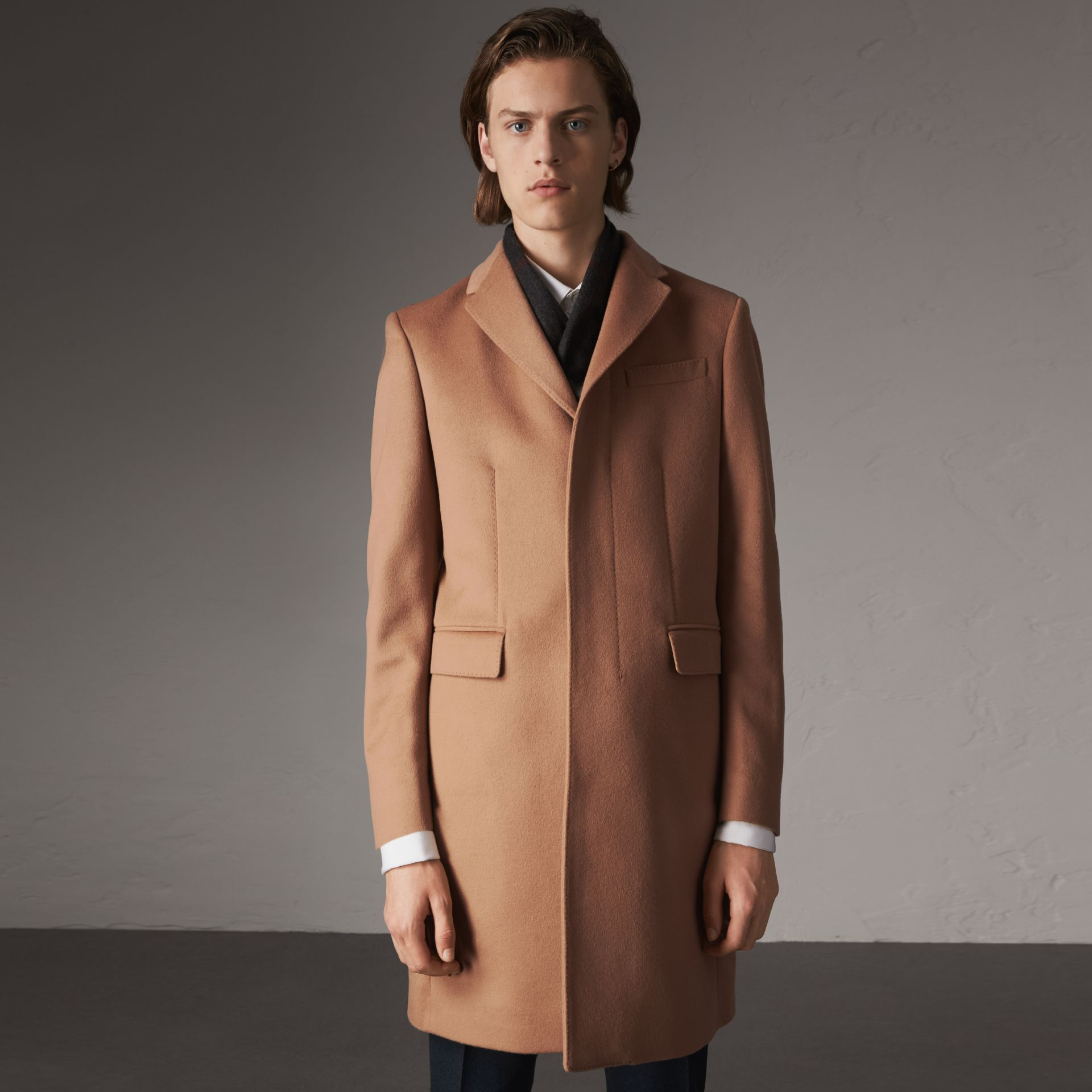 Wool Cashmere Tailored Coat in Camel - Men | Burberry United Kingdom - gallery image 0