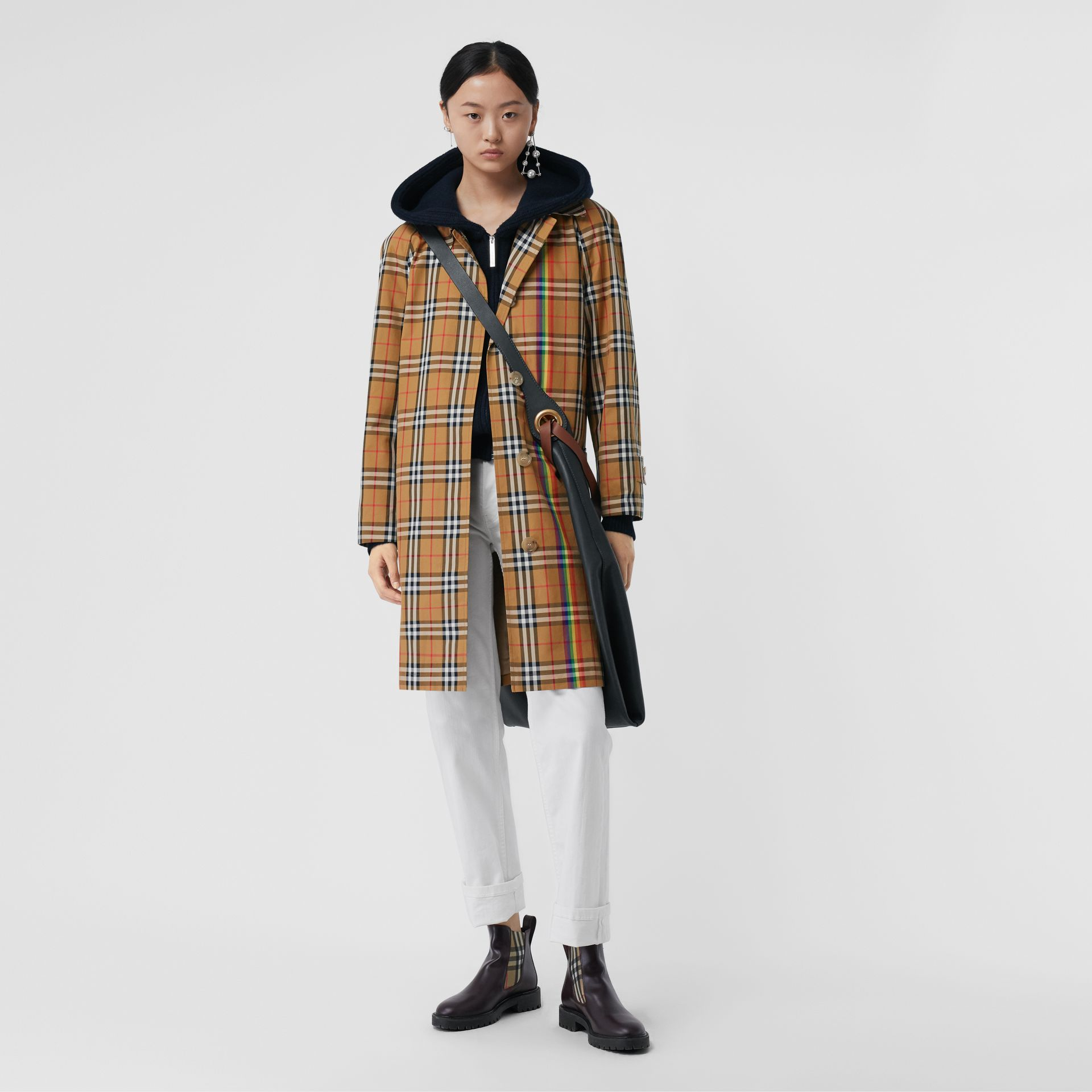 Rainbow Vintage Check Car Coat in Multicolour - Women | Burberry Australia - gallery image 0