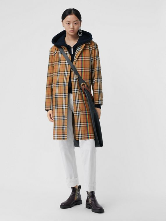 Rainbow Vintage Check Car Coat in Multicolour