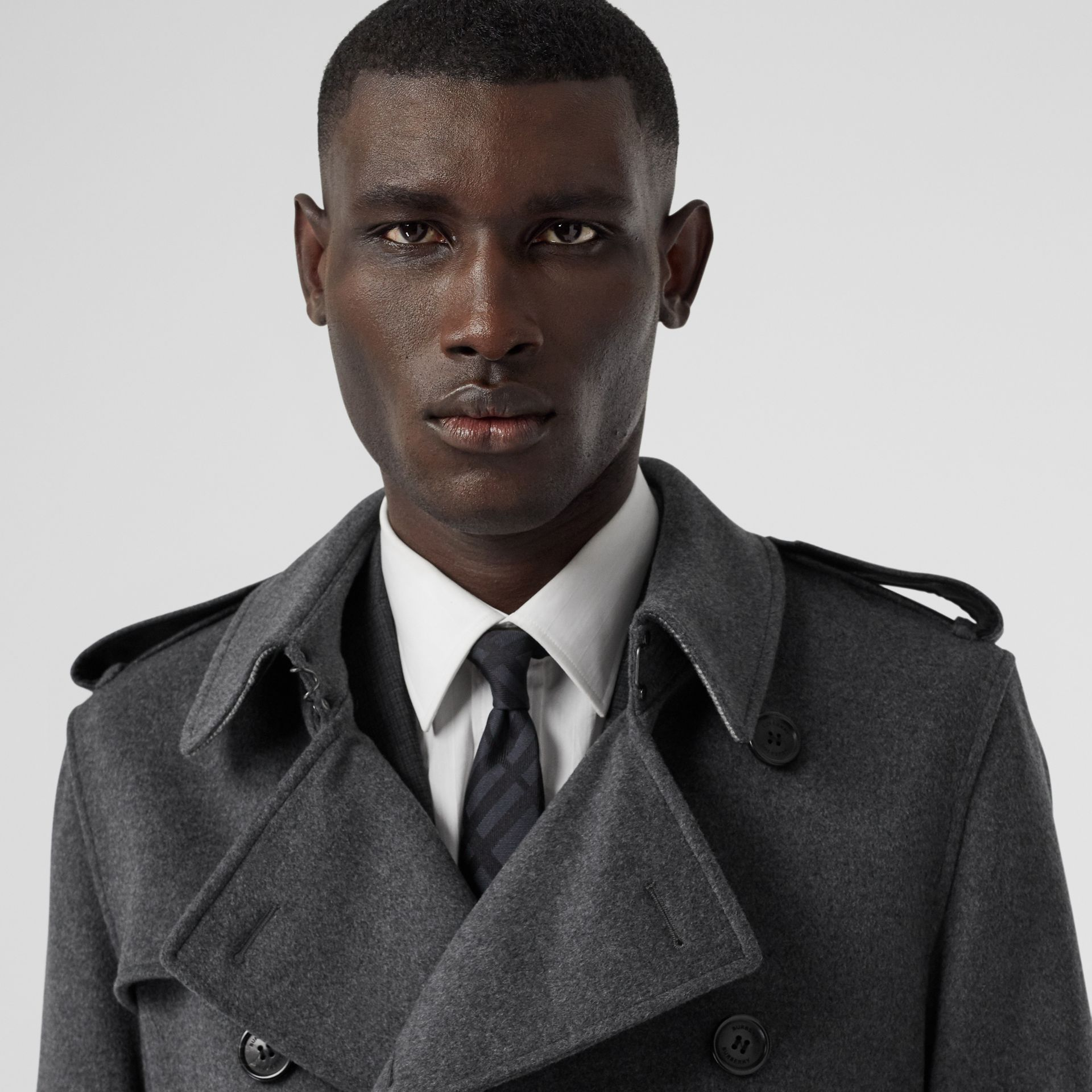 Wool Cashmere Trench Coat in Charcoal - Men | Burberry - gallery image 4