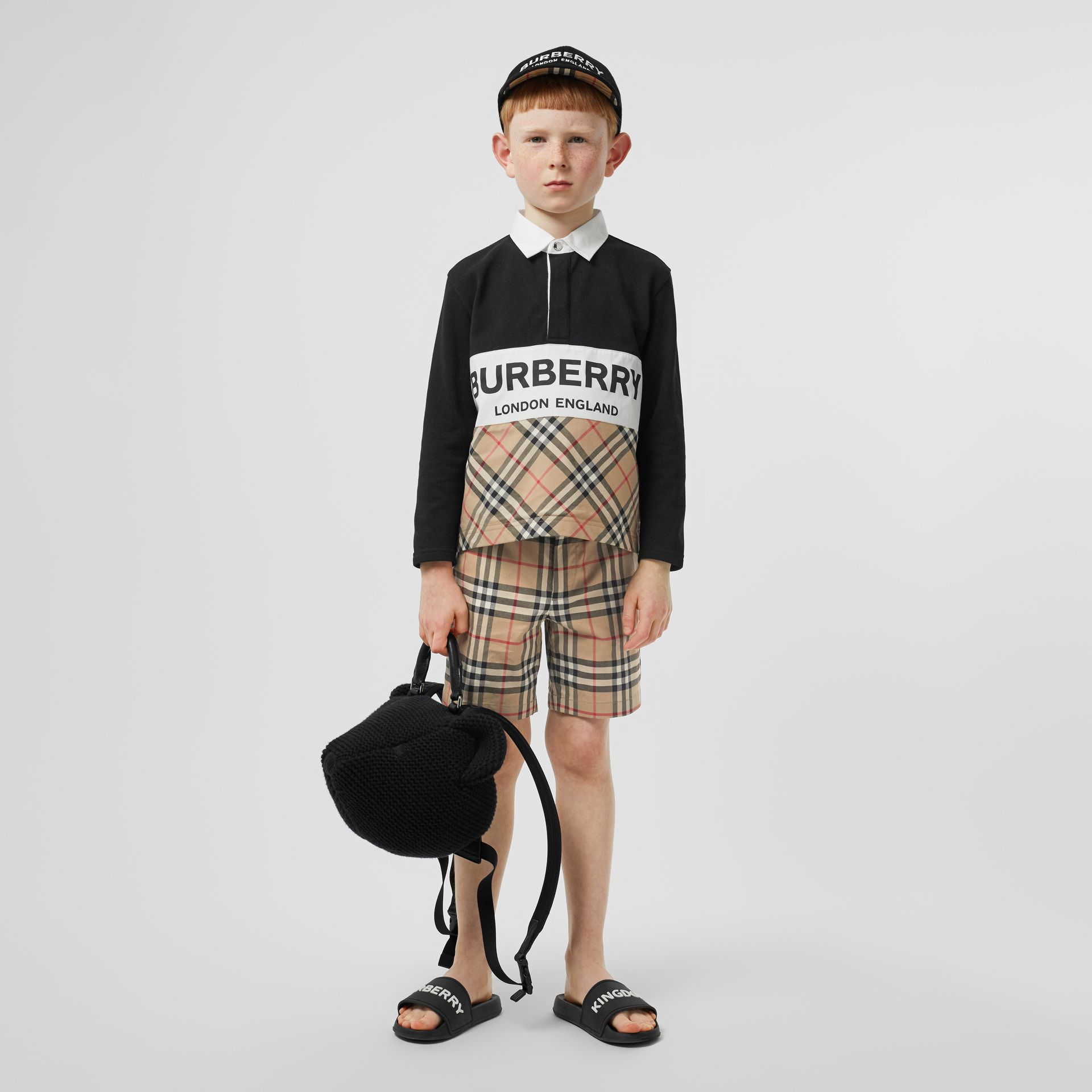 Long-sleeve Logo Print Check Panel Polo Shirt in Black | Burberry - gallery image 2