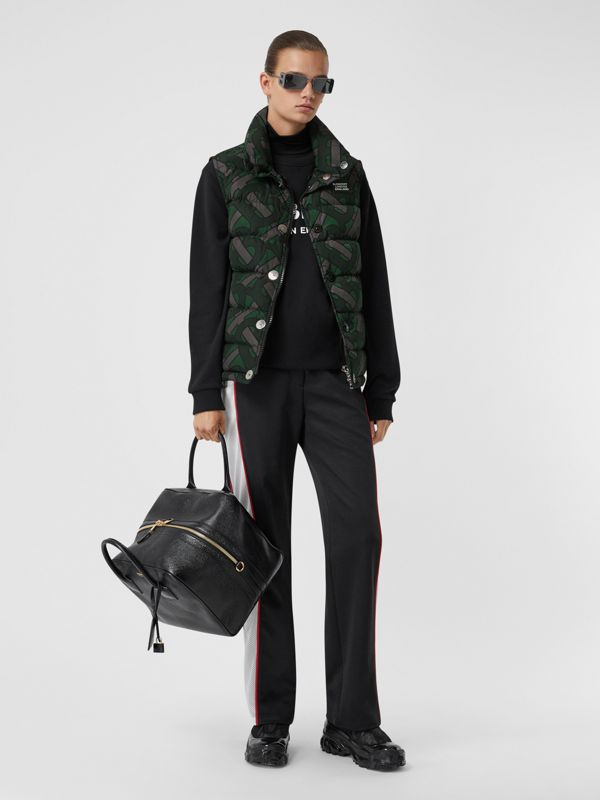 Monogram Print Puffer Gilet in Forest Green | Burberry - cell image 3