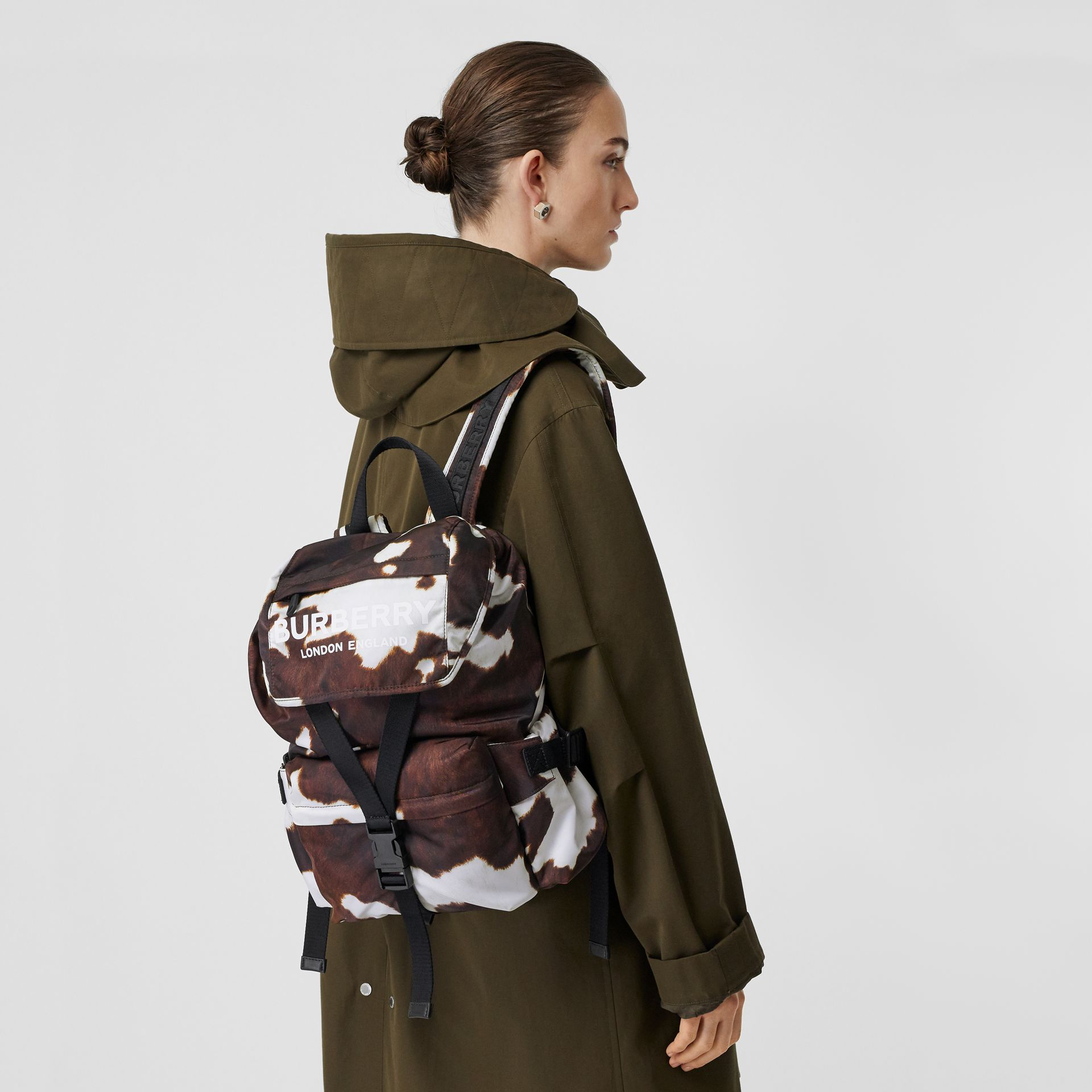 Cow Print Nylon Backpack in Mahogany - Women | Burberry - gallery image 2