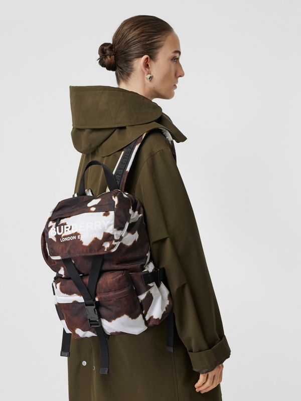 Cow Print Nylon Backpack in Mahogany - Women | Burberry United Kingdom - cell image 2