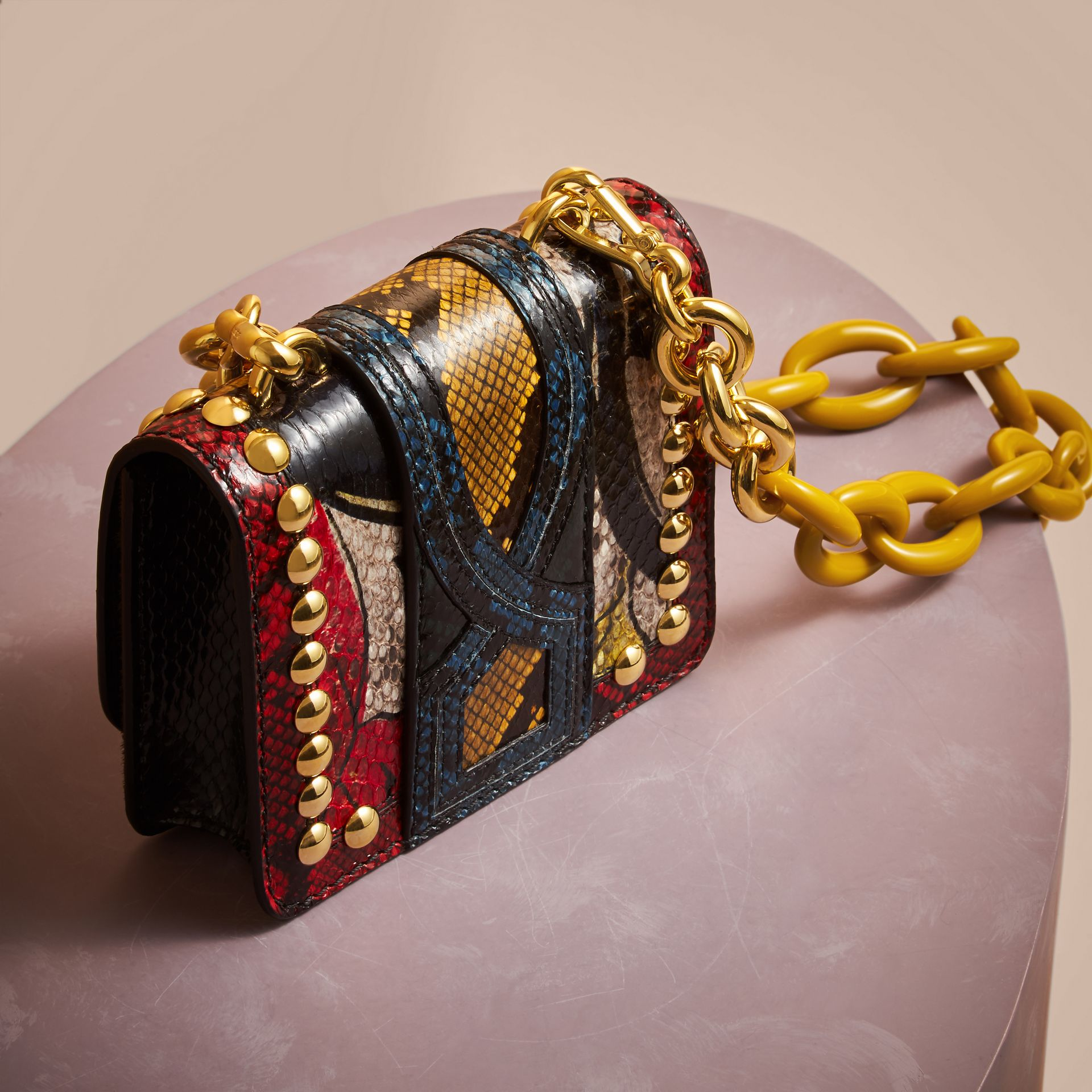 The Mini Square Buckle Bag in Calfskin and Riveted Snakeskin - gallery image 4
