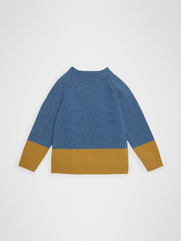 Logo Intarsia Cashmere Sweater in Dusty Blue Melange | Burberry Singapore - cell image 3
