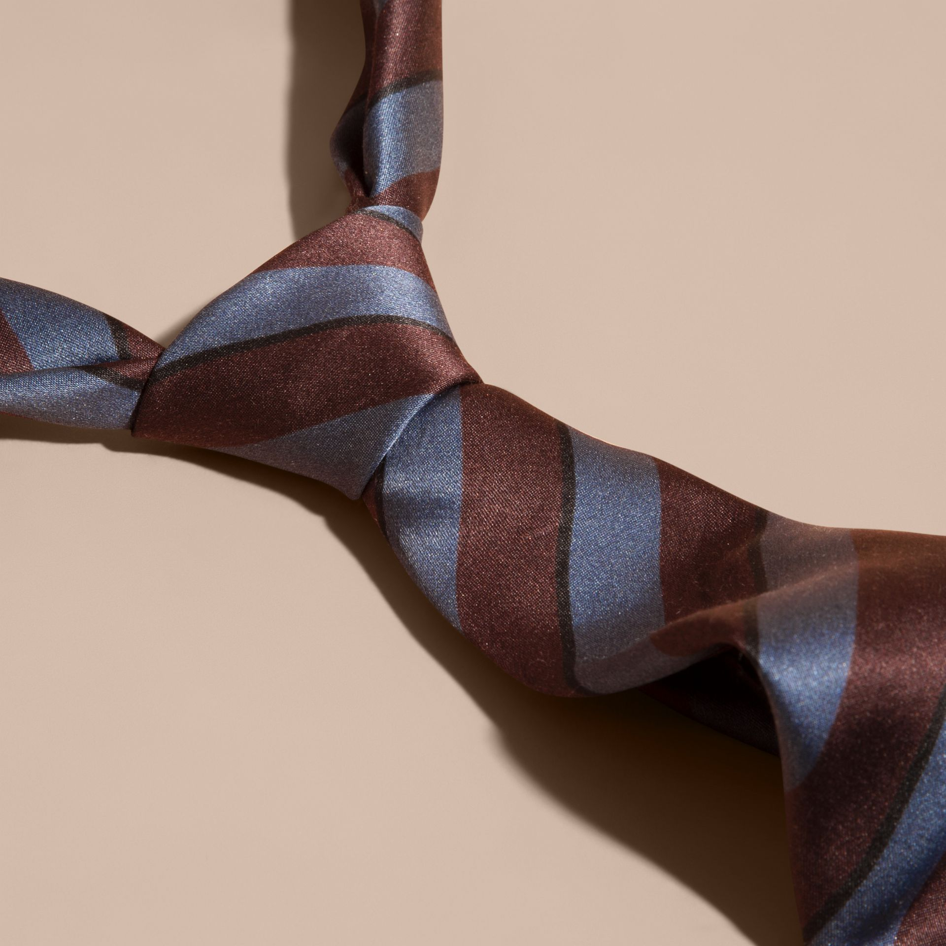 Slim Cut Pyjama Stripe Silk Cotton Tie in Navy - Men | Burberry - gallery image 2