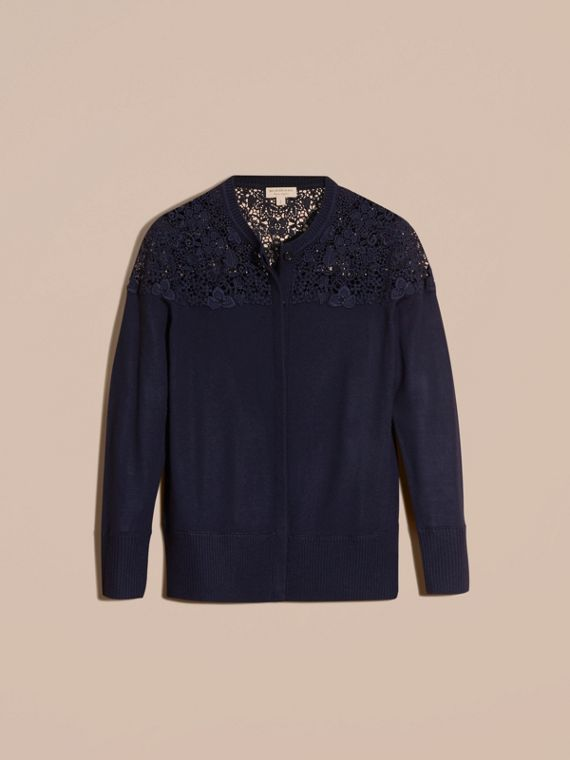 Navy Lace Yoke Merino Wool Cardigan Navy - cell image 3