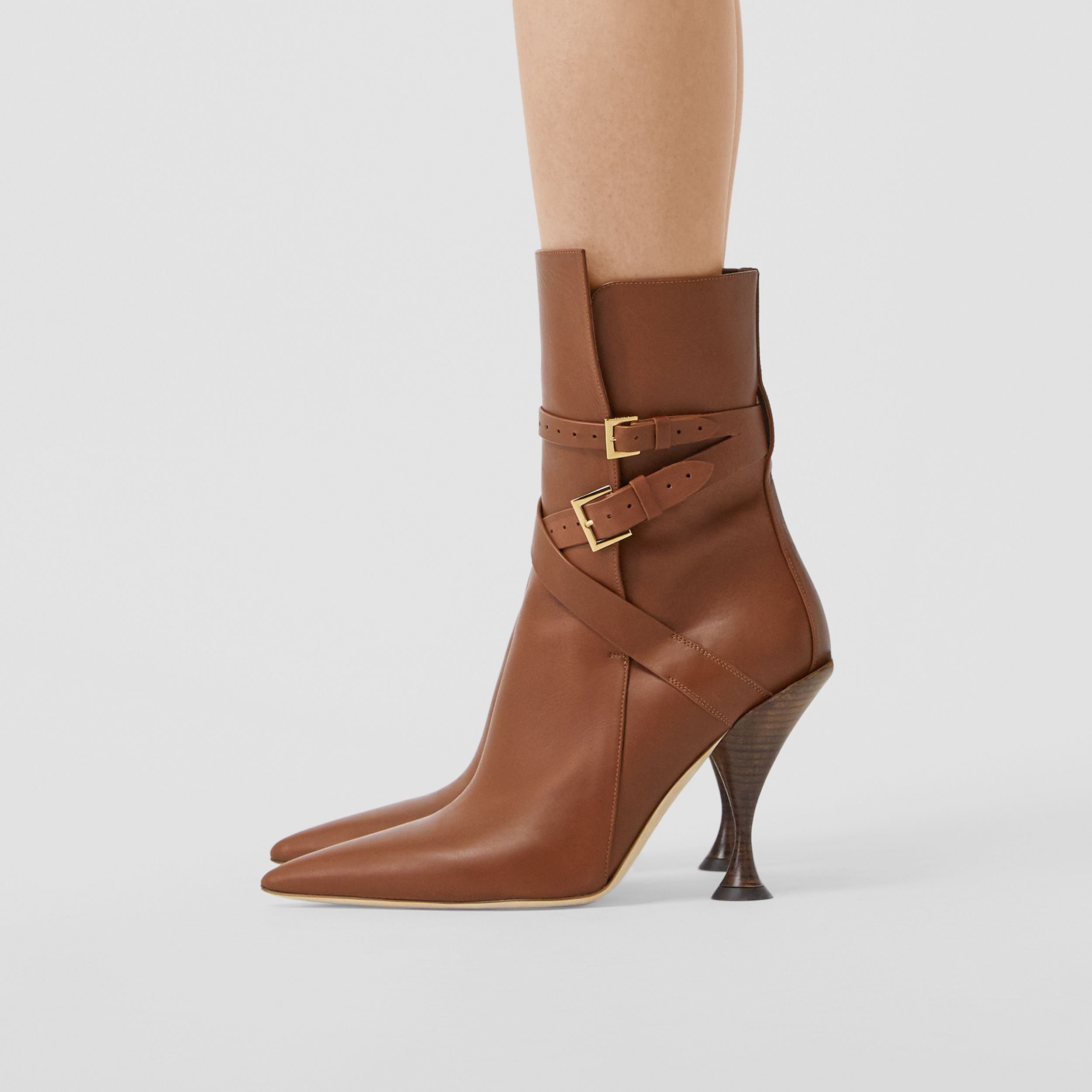Strap Detail Leather Ankle Boots in Tan - Women | Burberry - 3