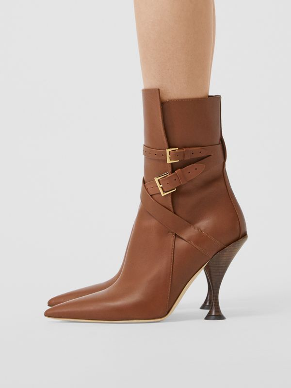 Strap Detail Leather Ankle Boots in Tan - Women | Burberry Hong Kong S.A.R - cell image 2