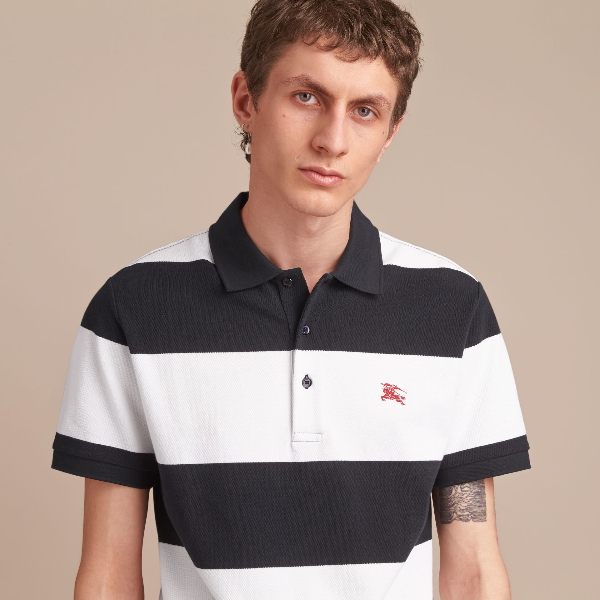 Striped Cotton Piqué Polo Shirt in White/navy - Men | Burberry - gallery image 5