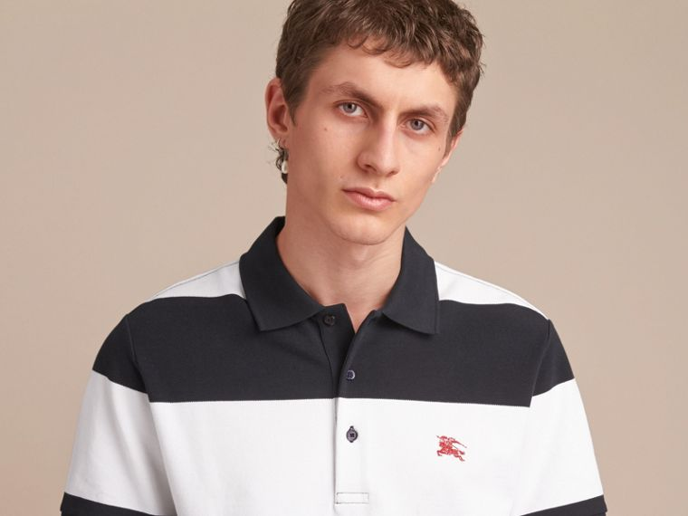 Striped Cotton Piqué Polo Shirt in White/navy - Men | Burberry - cell image 4